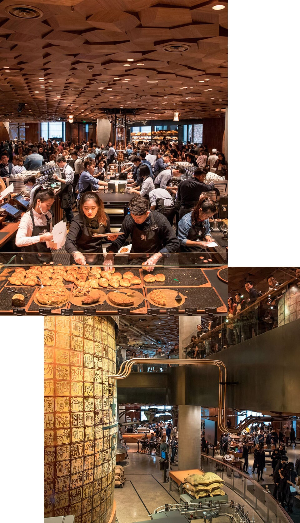 Collage of a lot of people in an interior space making coffee, touching bread, and other activities and large interior space with a lot of people