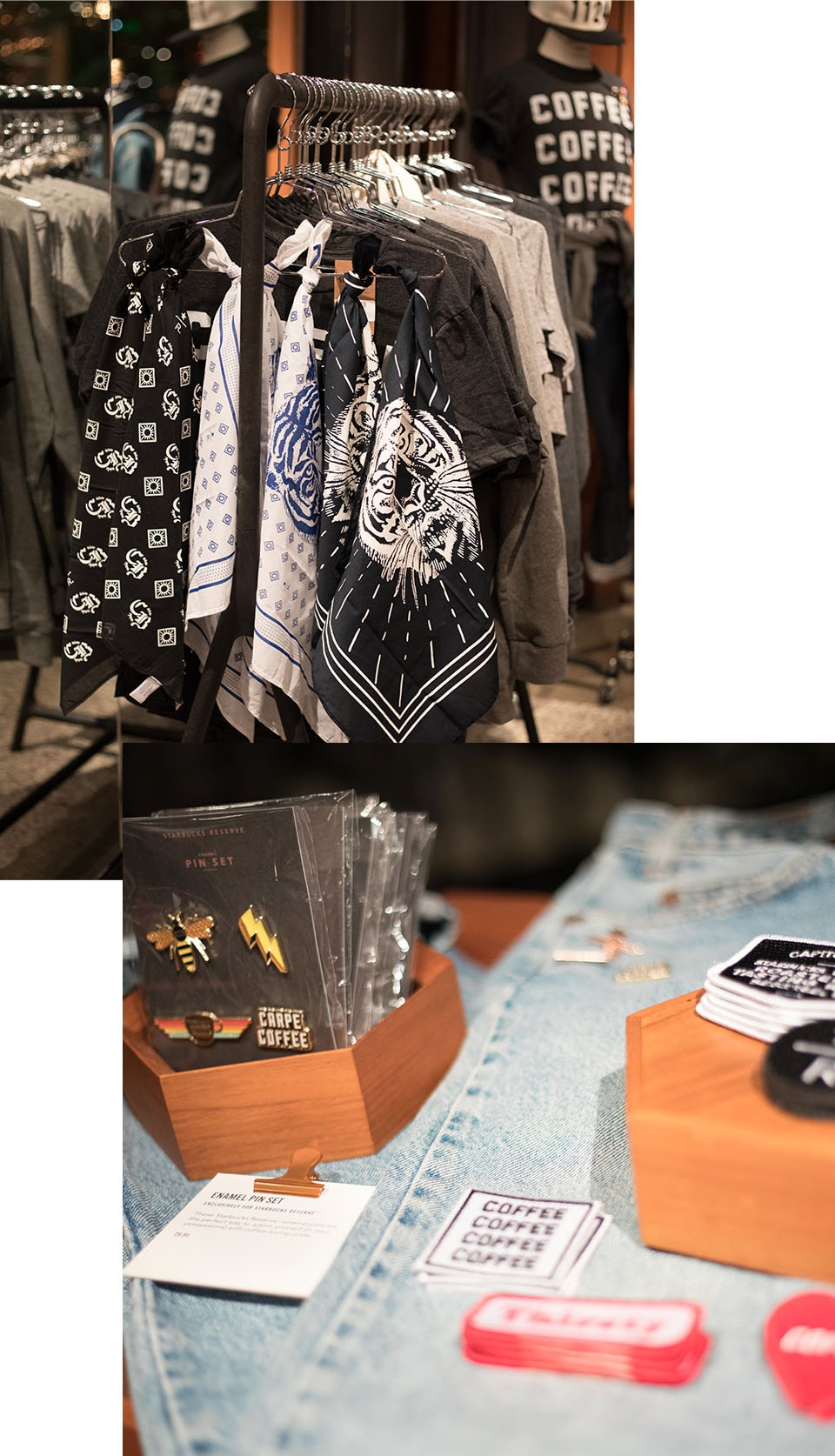 Collage of items made of t-shirts and scarves on hangers on display and pins, stickers, and patches on display on top of denim