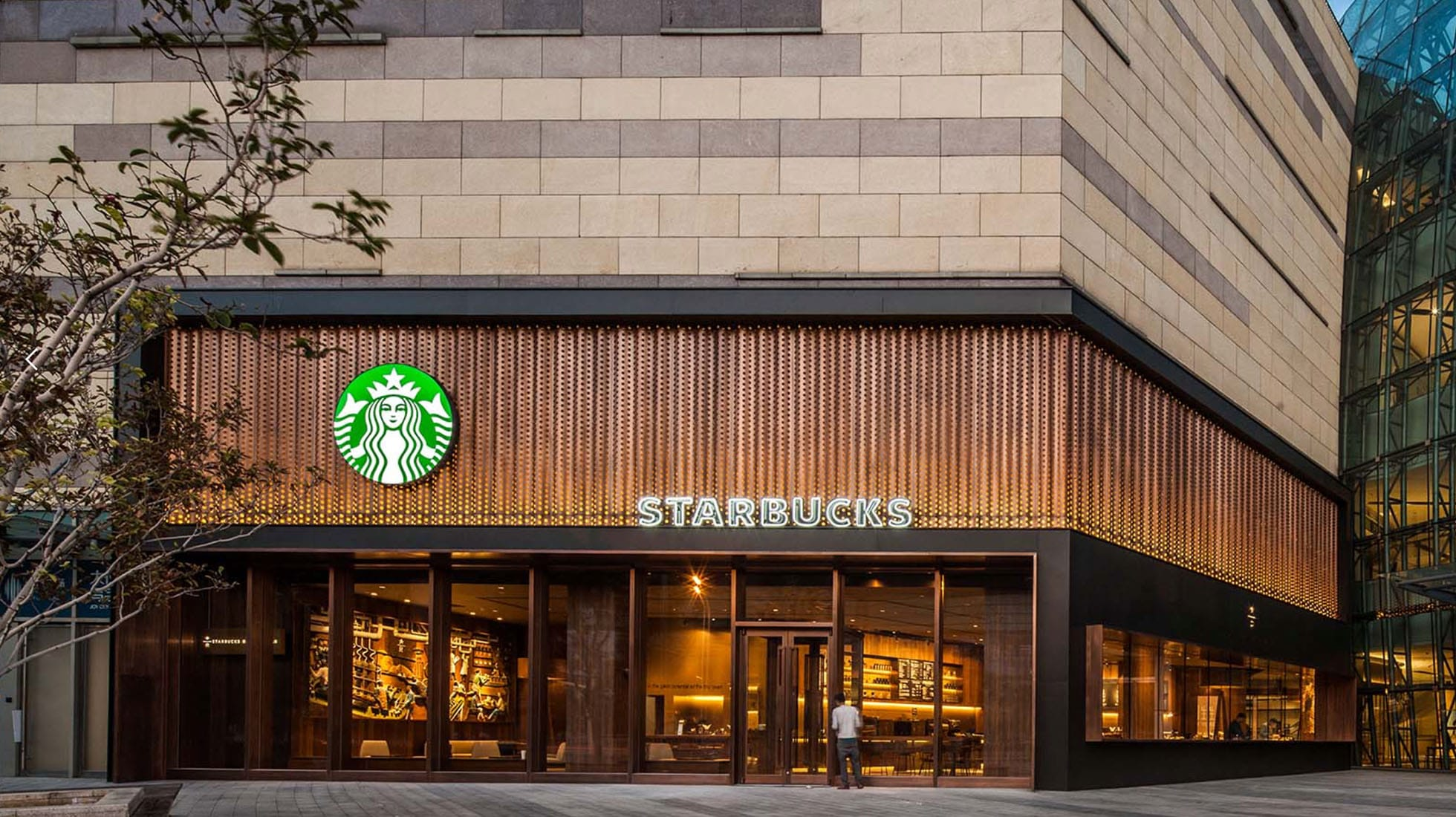 Outside of a Starbucks store in Tianjin, China