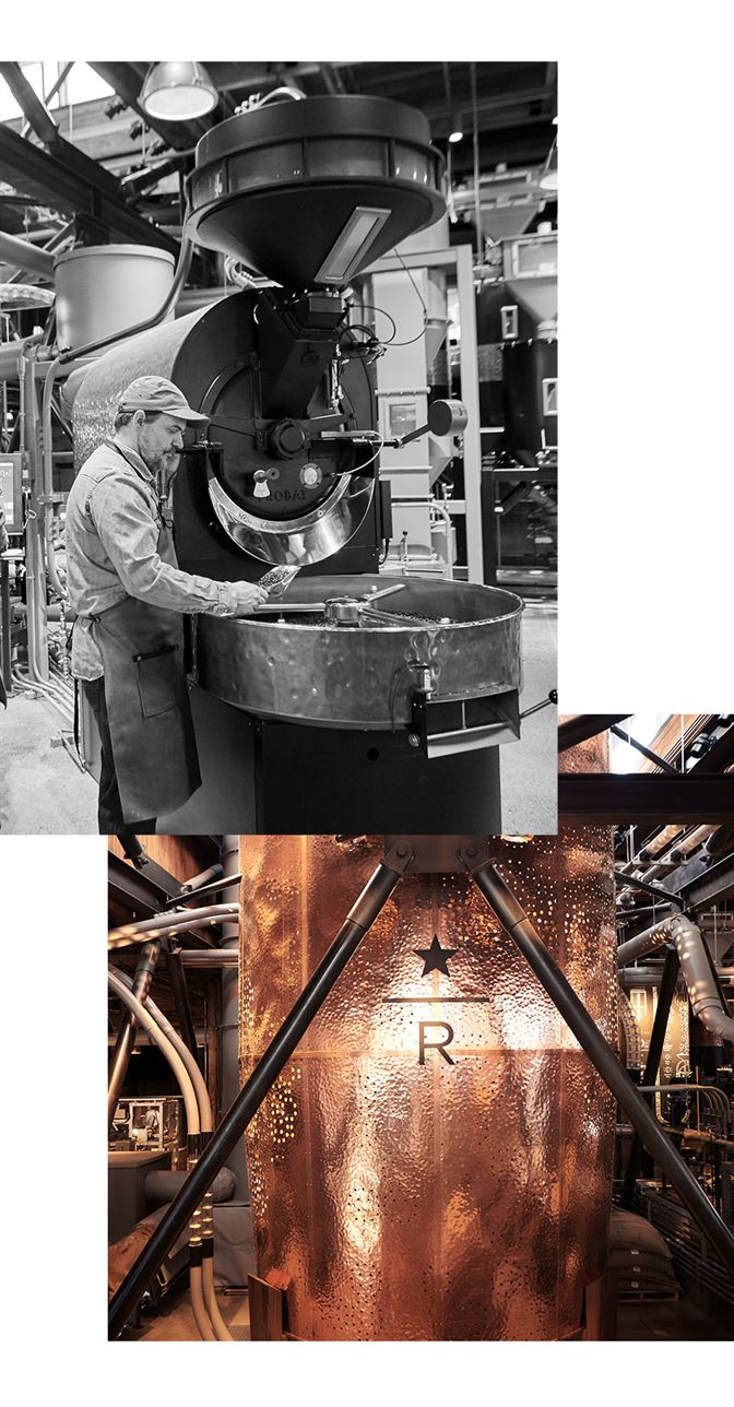 Collage of man standing at roaster and large copper cask