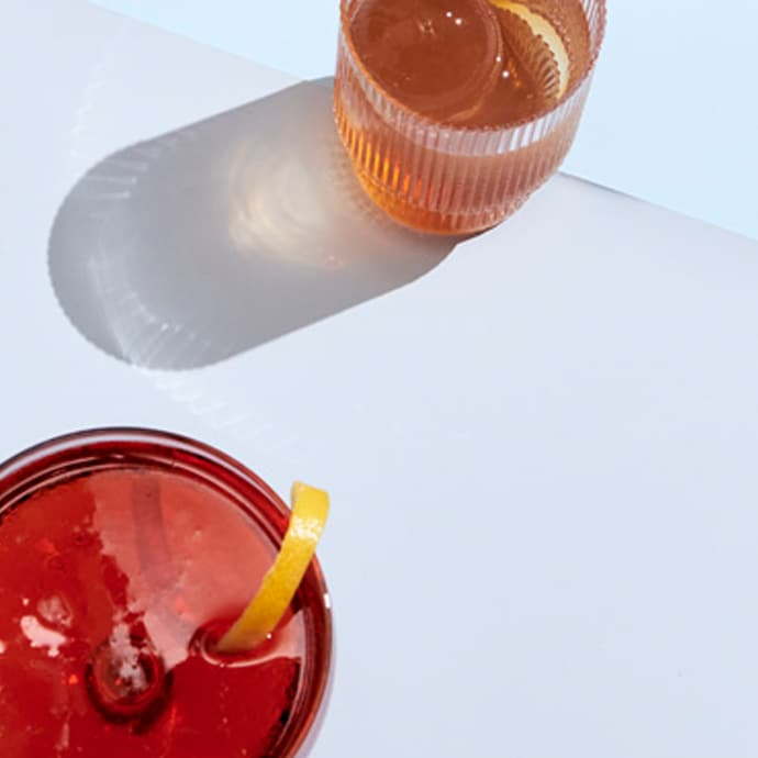 Overhead shot of two cocktails