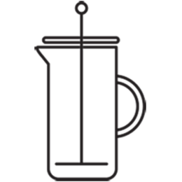Coffee press brew method illustration