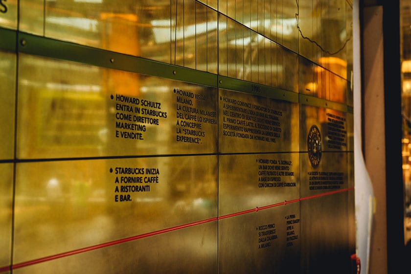 Image of timeline installation the Starbucks Reserve Roastery in Milano, Italy