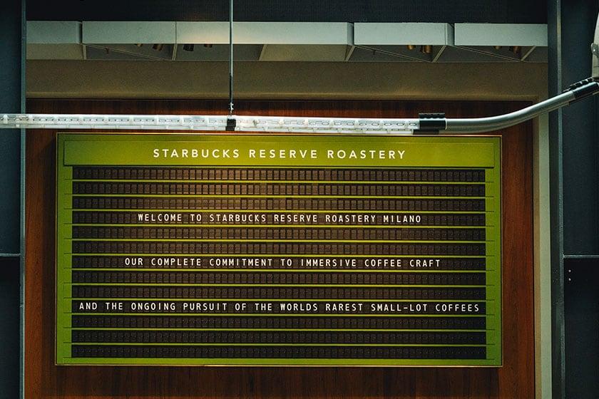 Image of Solari board in the Starbucks Reserve Roastery in Milano, Italy