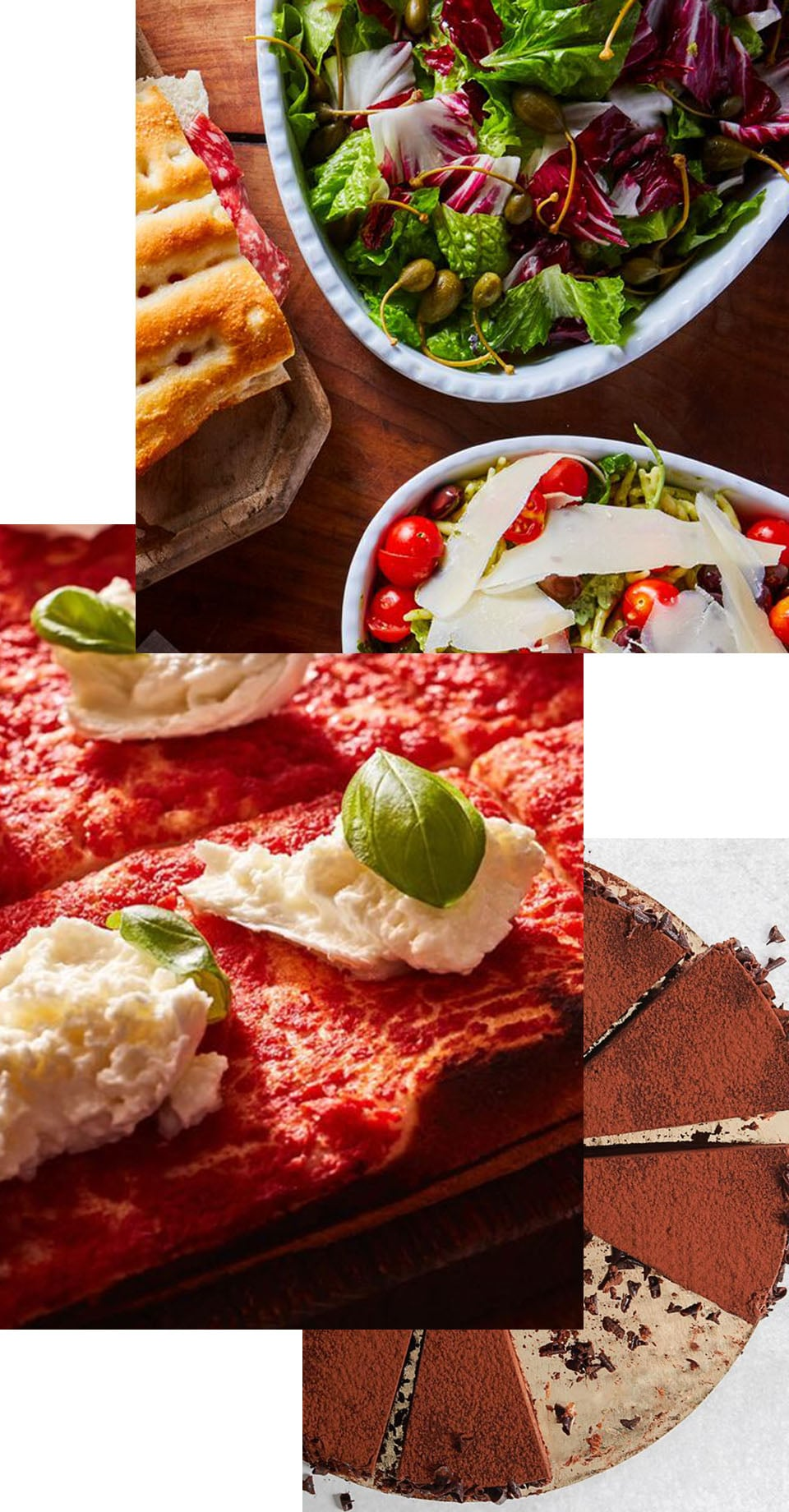 Image collage of a sandwich, salads, pizza, and dessert