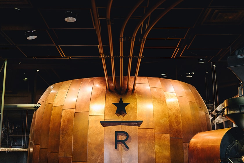 Close-up view of the copper cask in the New York Roastery
