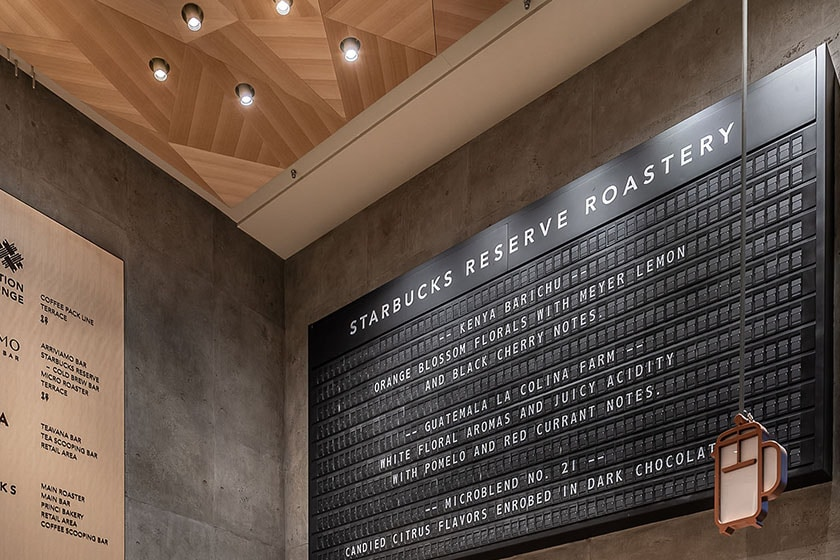 The Clacker Board displaying the names and tasting notes of available Starbucks Reserve coffees