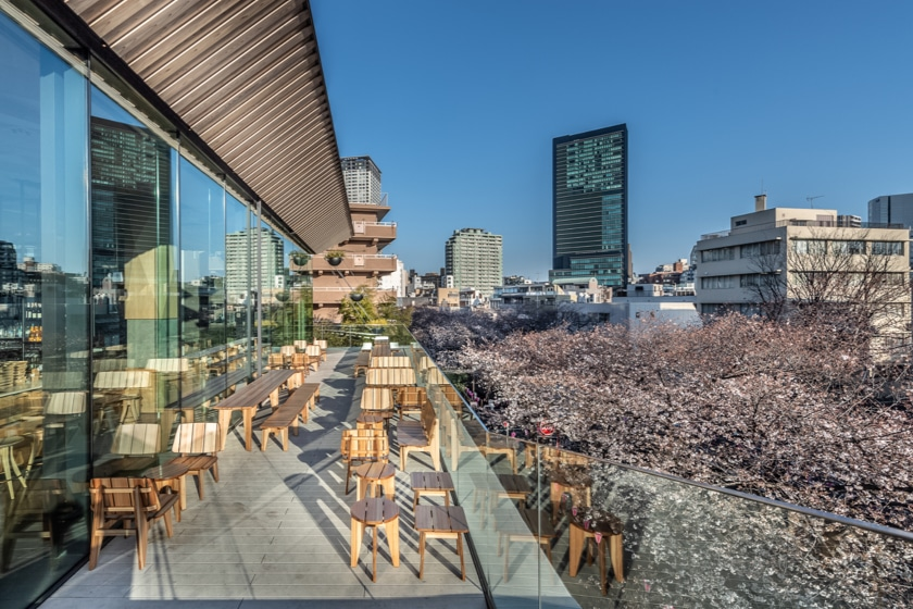 View from one of two outdoor decks of the Tokyo Roastery showing both the side of the Roastery and the surrounding city