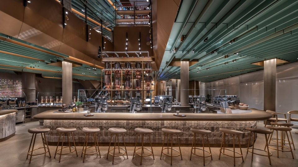 The Experiential Coffee Bar in the Chicago Roastery, including a view to the floor above