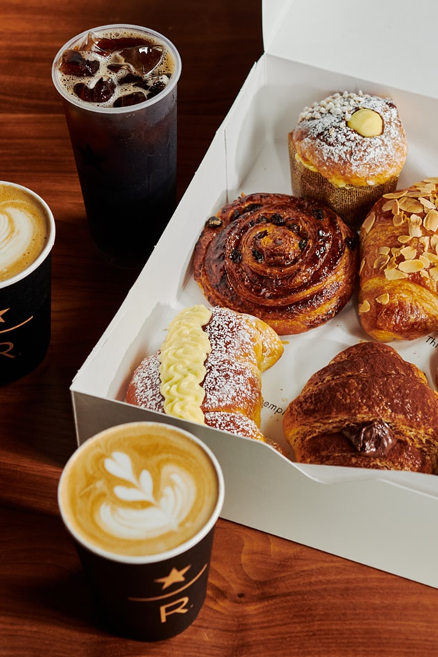 Hot and iced coffees and a box of assorted Italian pastries