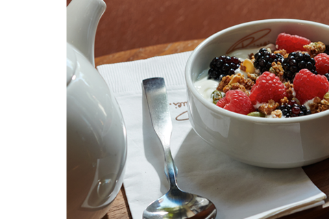 A bowl of yogurt topped with fresh berries and granola