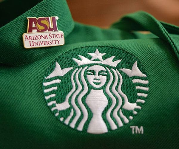 Starbucks green apron with ASU pin