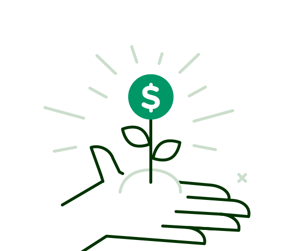 hand with growing money icon