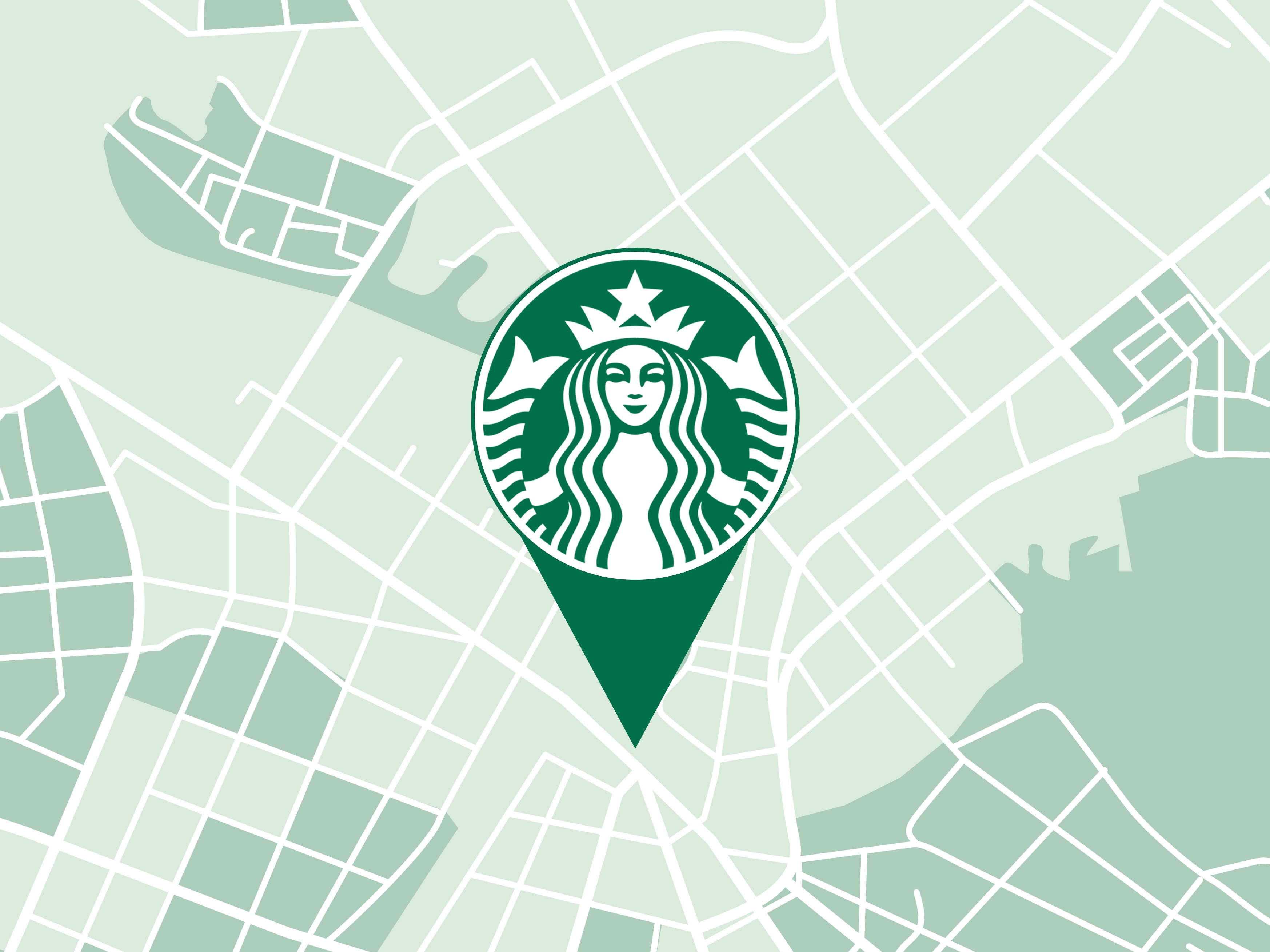 Generic map image with a Starbucks locator pin