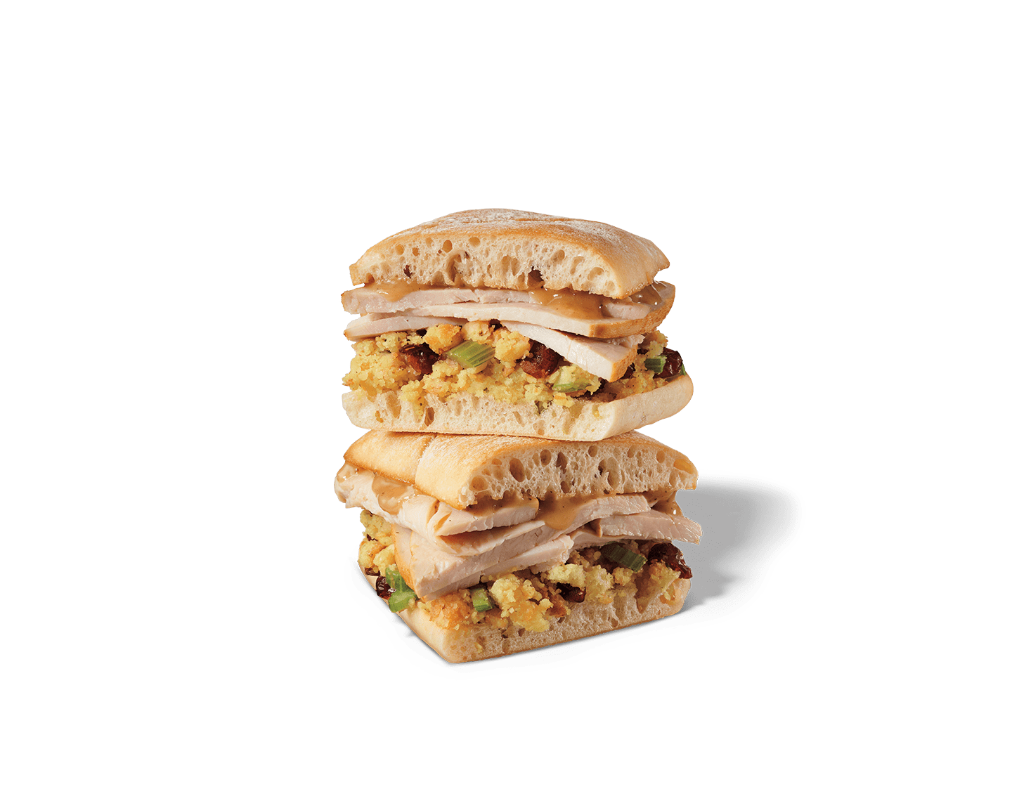 Sliced turkey breast, cranberry-herb stuffing and turkey gravy on toasted ciabatta bread.