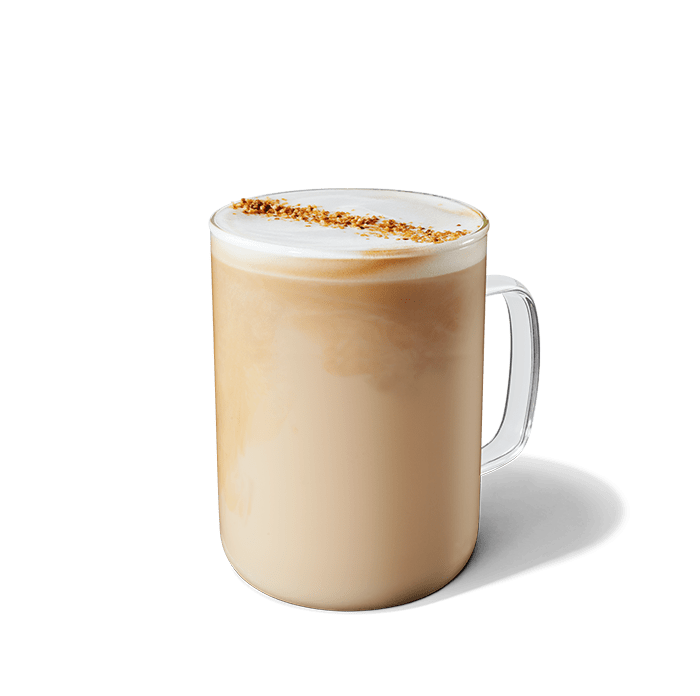 Glass of a coconutmilk latte