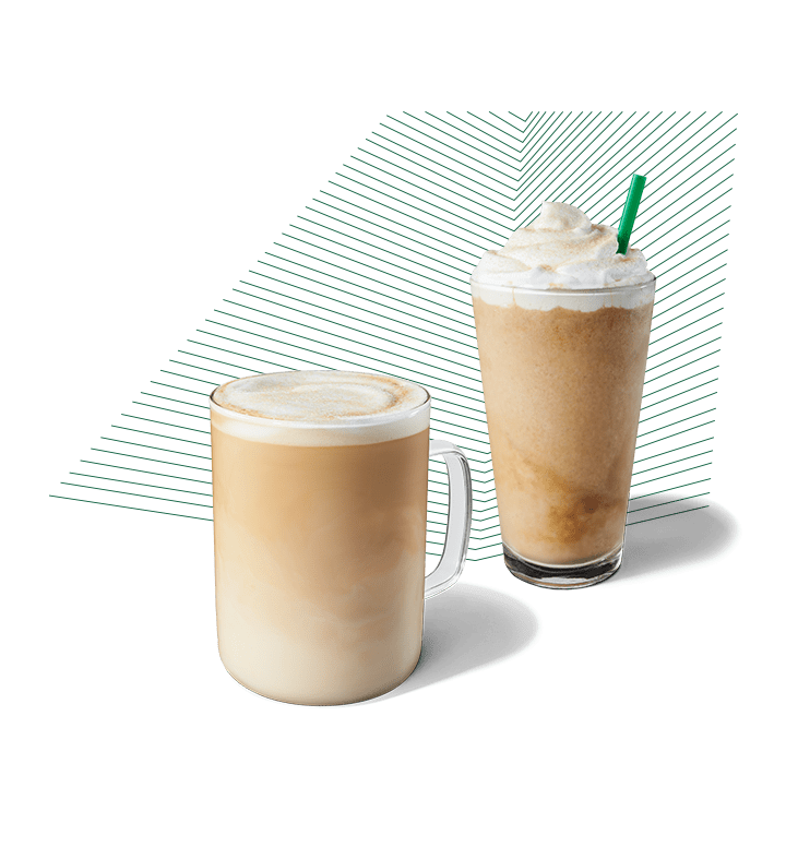 A smoked butterscotch latte and frappuccino® blended beverage