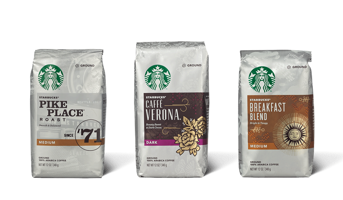 Bag of Starbucks coffee beans for brewing at home.