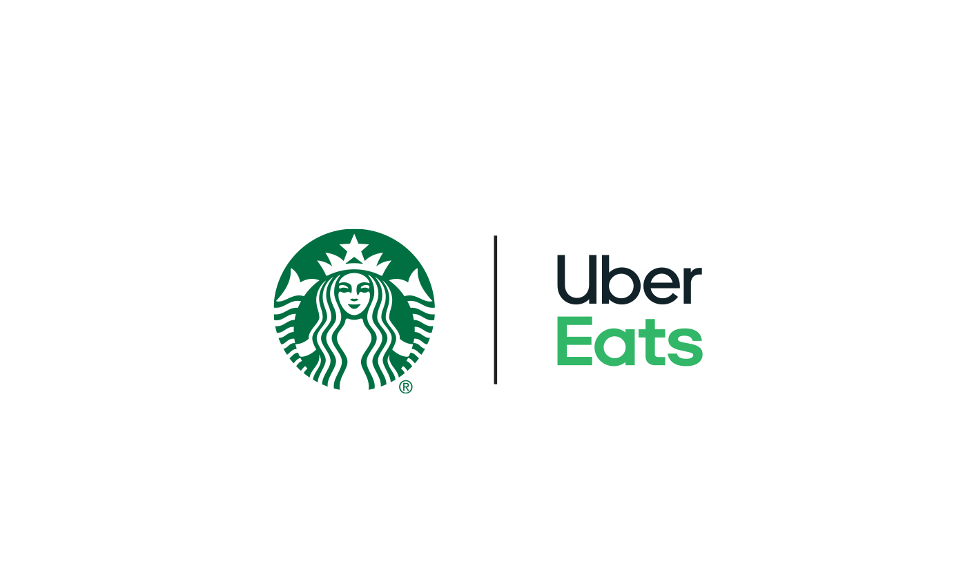 Starbucks cold and hot coffee drinks, and food delivered by Uber Eats.