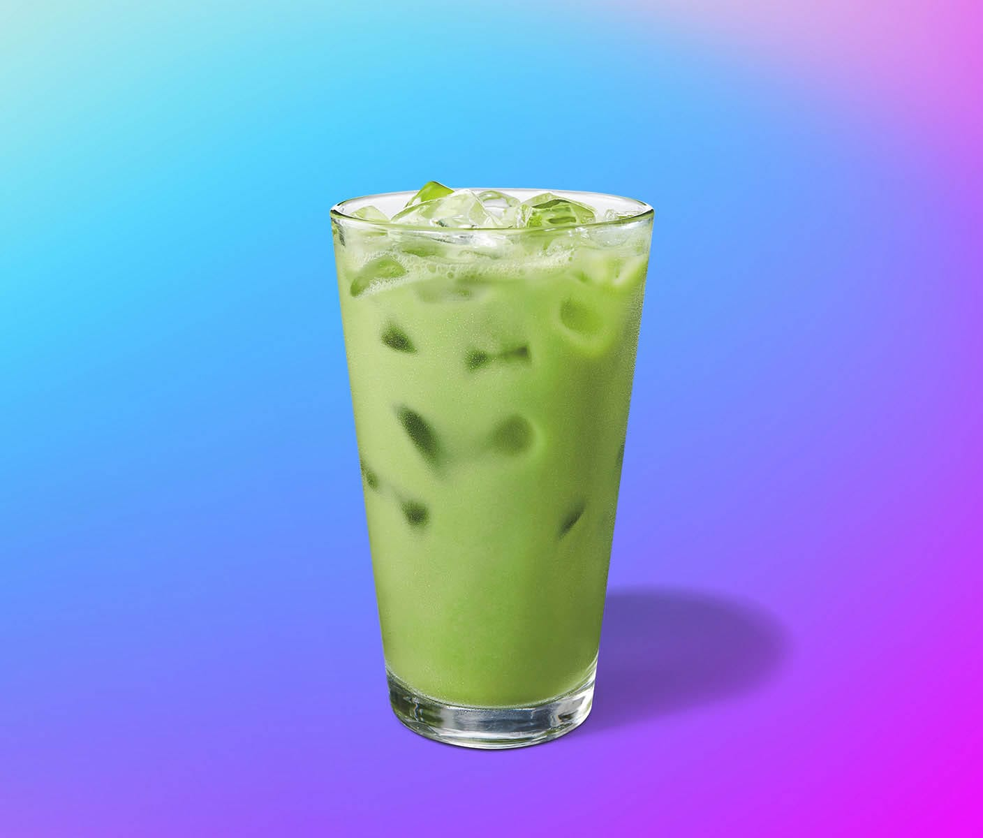 Creamy, brilliant green iced drink in a glass