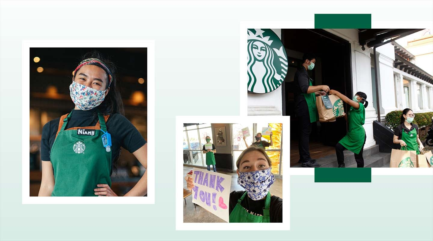 Various images of Starbucks partners (employees)