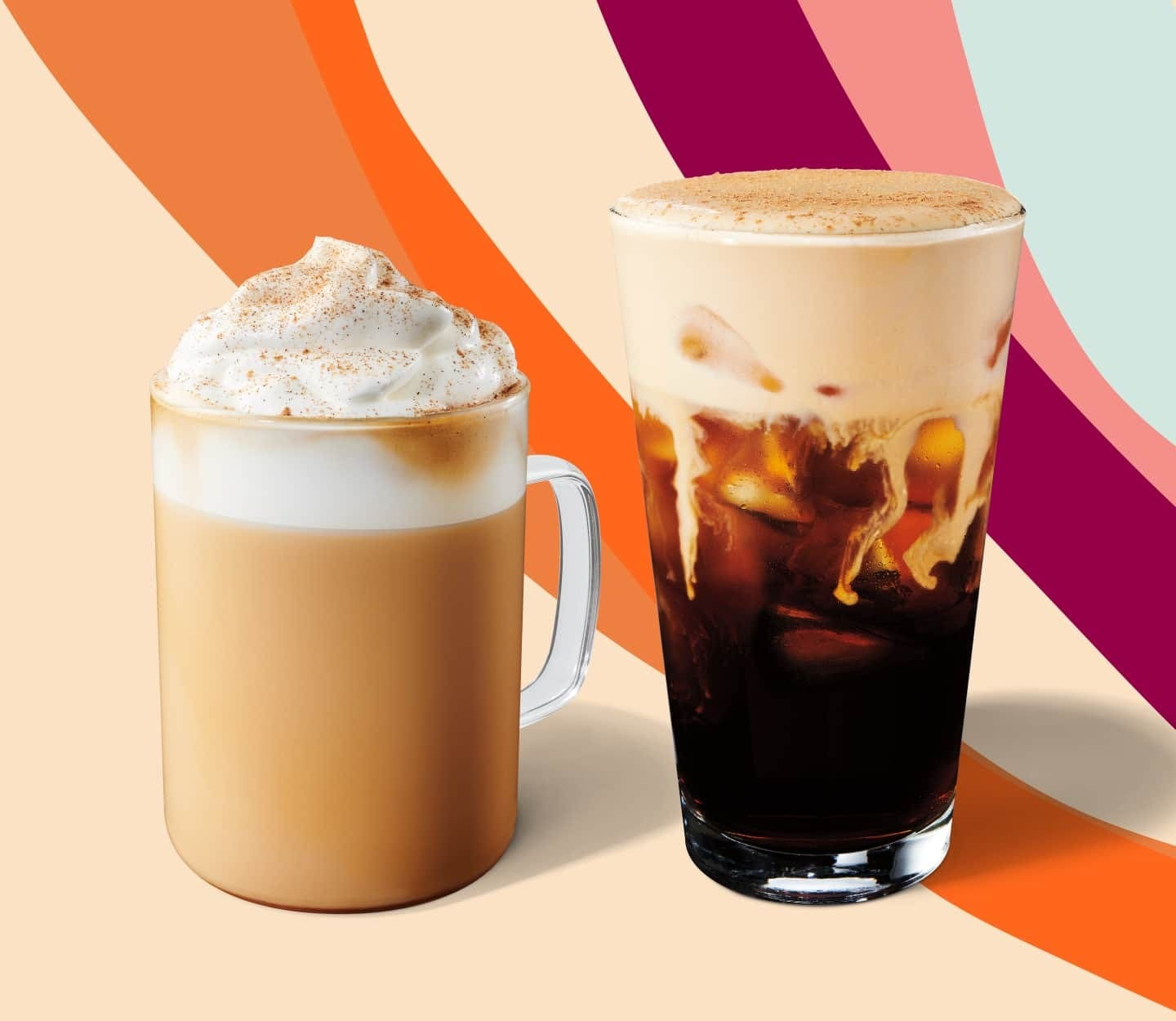 Latte and cold brew served in glassware.