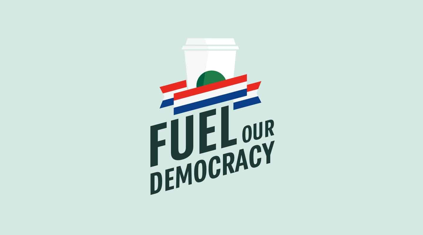 Fuel Our Democracy Logo with red, white and blue ribbon.