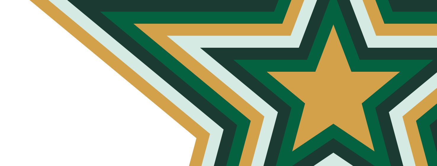 A bursting, multicolored Star on house green background.