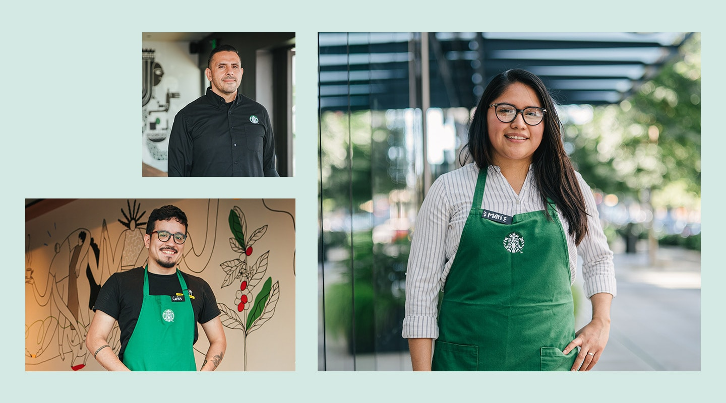 Three images of partners (employees) who are featured in our Latinx Heritage Month story.