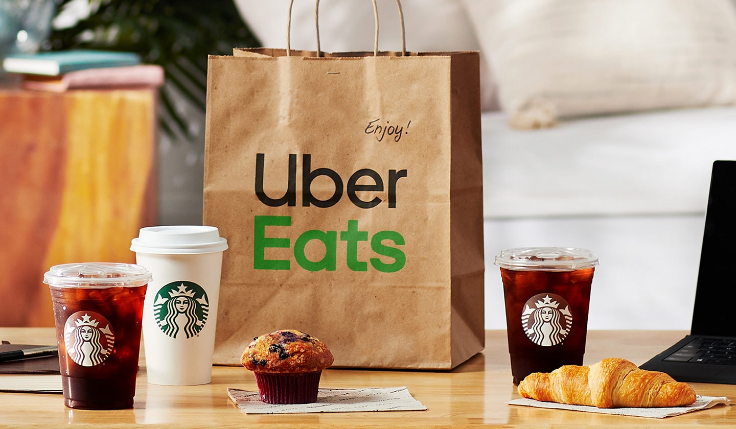 Uber Eats delivery bag and assortment of Starbucks coffee and bakery items on a table in a living room setting