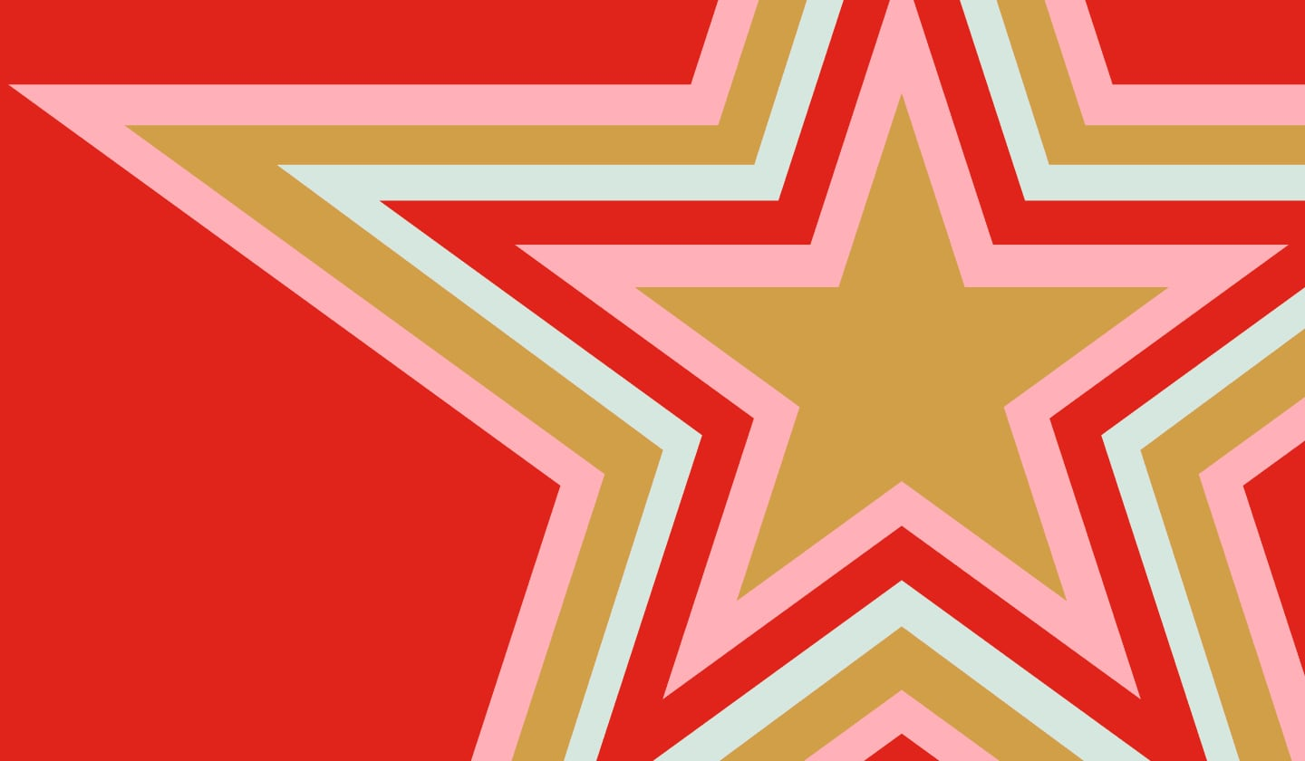 A brightly colored star on a red background.