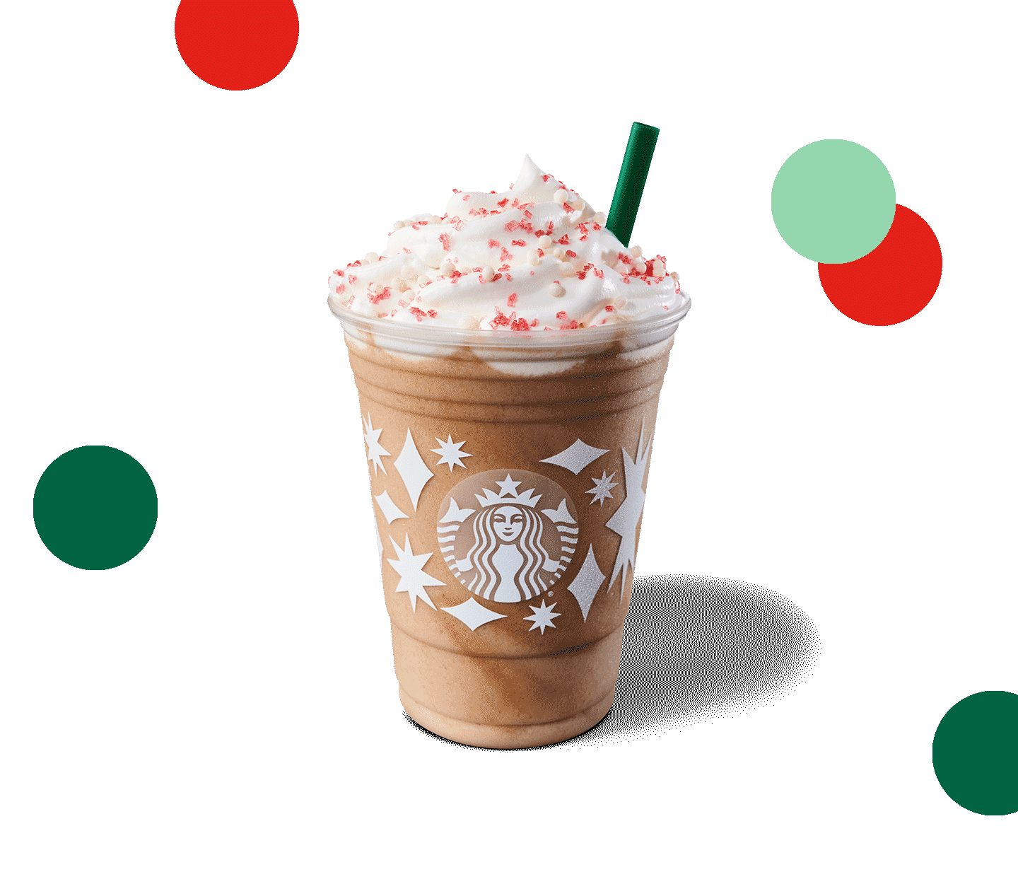 Frappuccino® with a topping of whipped cream, festive holiday sugar sparkles, and crispy white pearls.