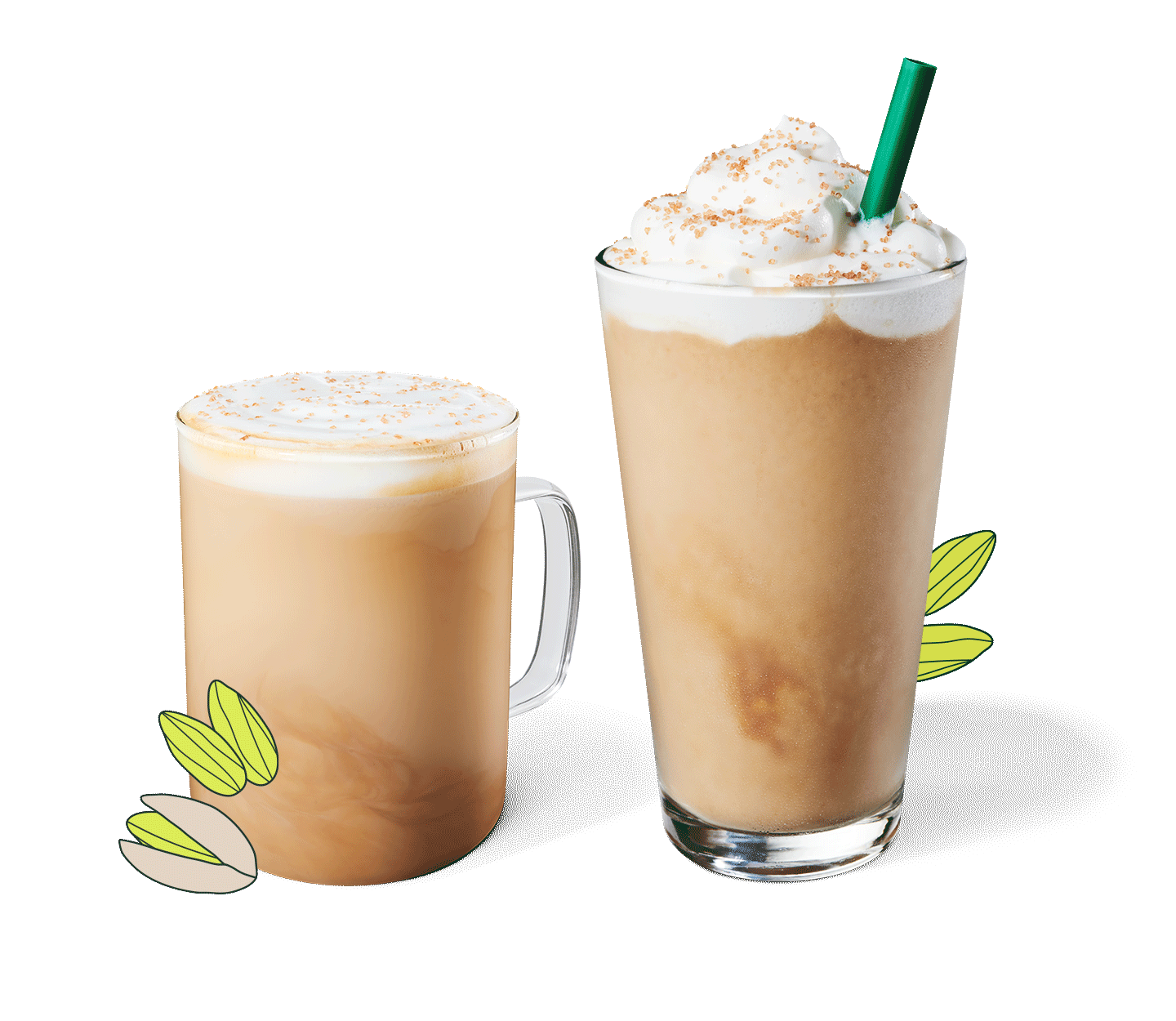 Pistachio Latte and Pistachio Frappuccino® blended beverage in glassware.