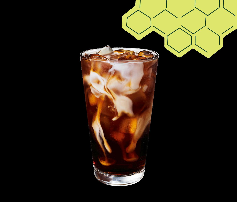 Honey Almondmilk Cold Brew in a glass.