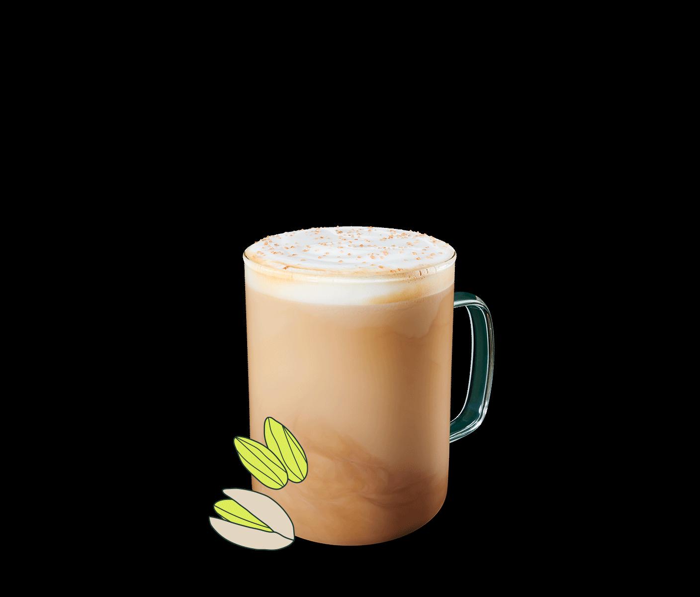Pistachio Latte in a glass mug.