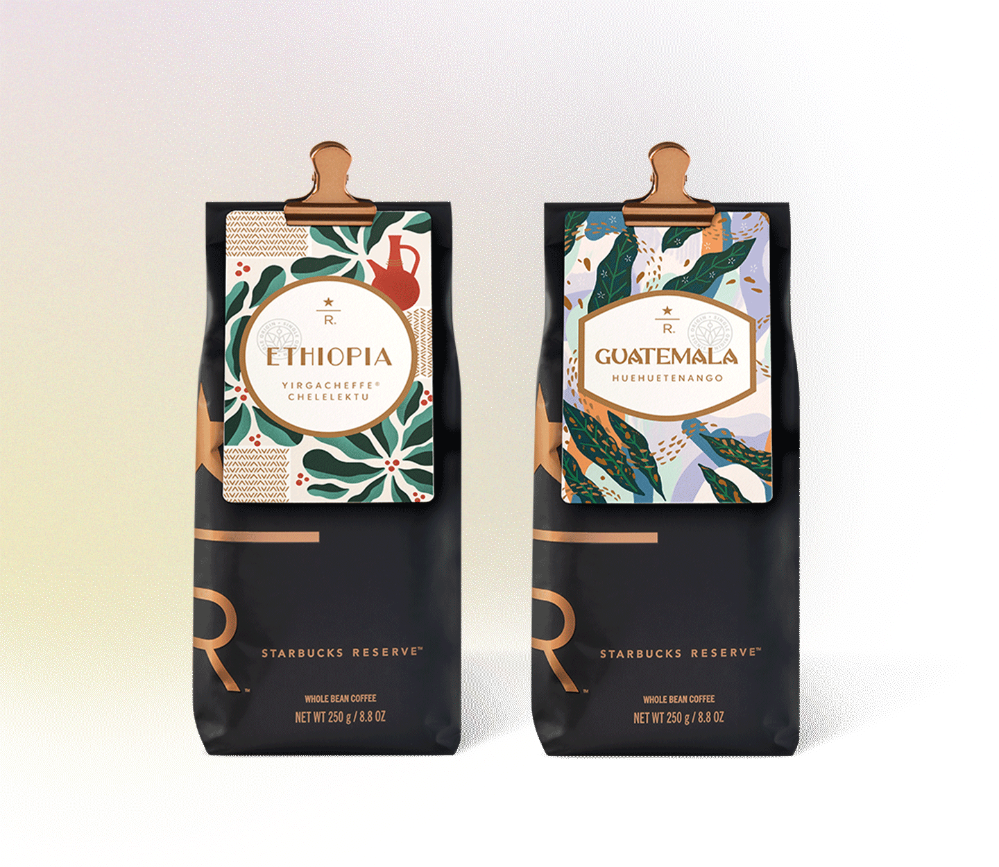 Two Starbucks Reserve® coffee bags.