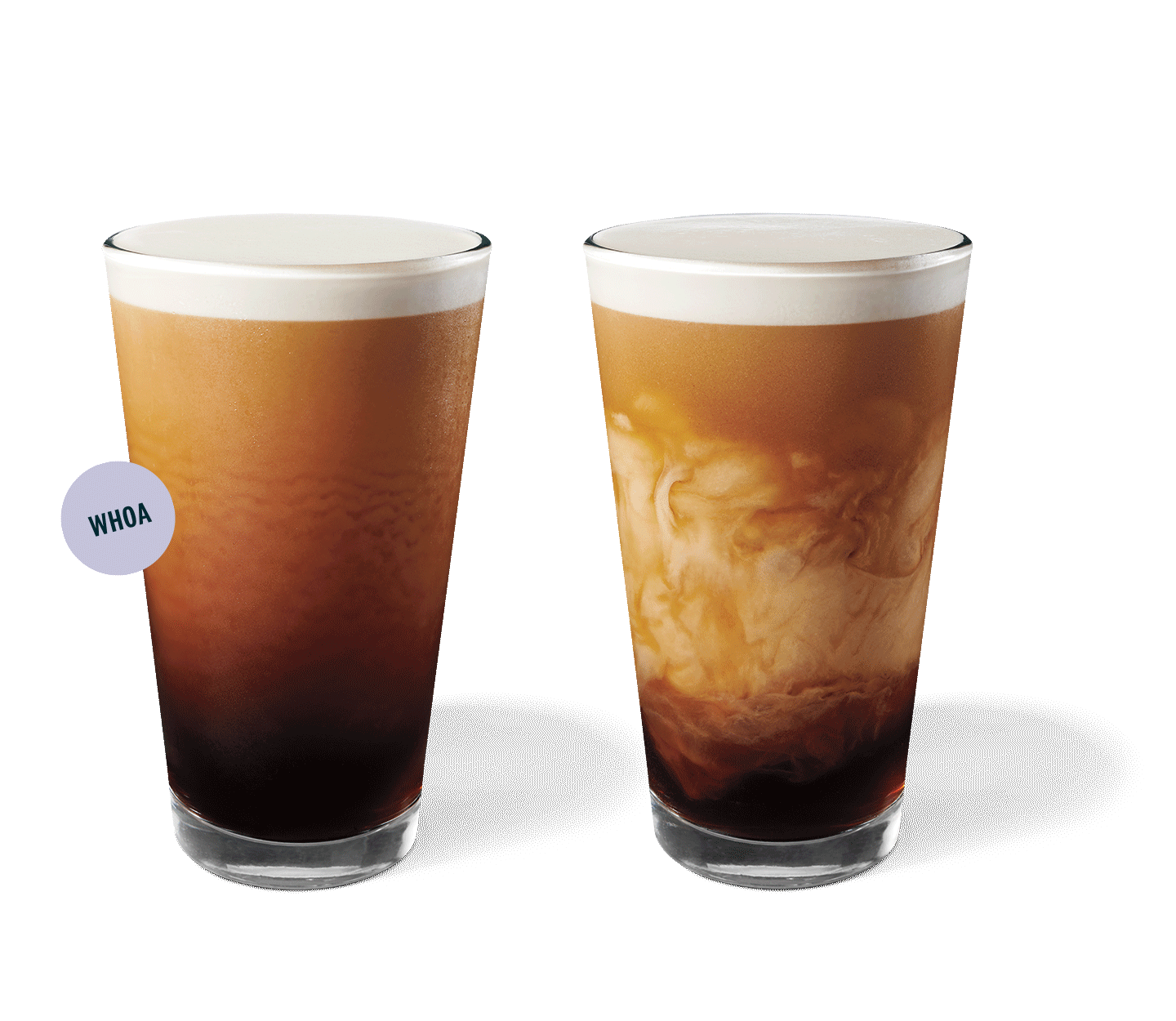 Two Nitro Cold Brew drinks in glassware.