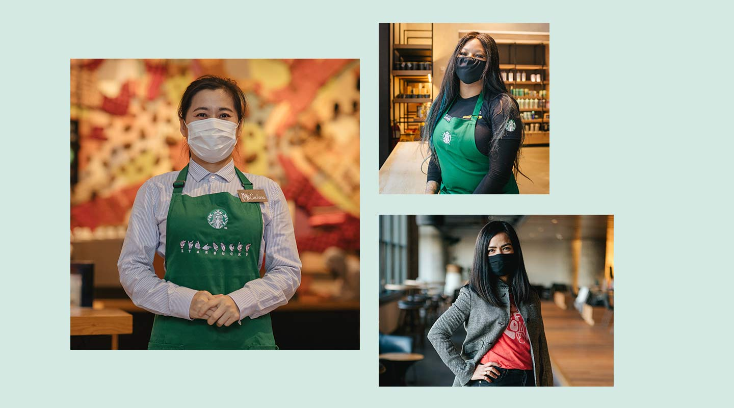 Three Starbucks partners wearing facial coverings.