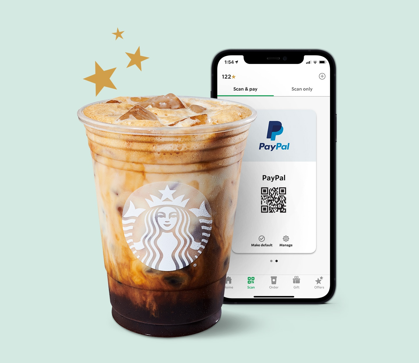 PayPal phone screen with cold brew drink