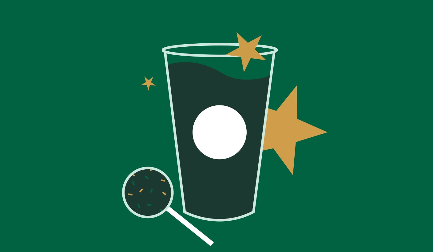 Outlined image of drink with stars and cake pop