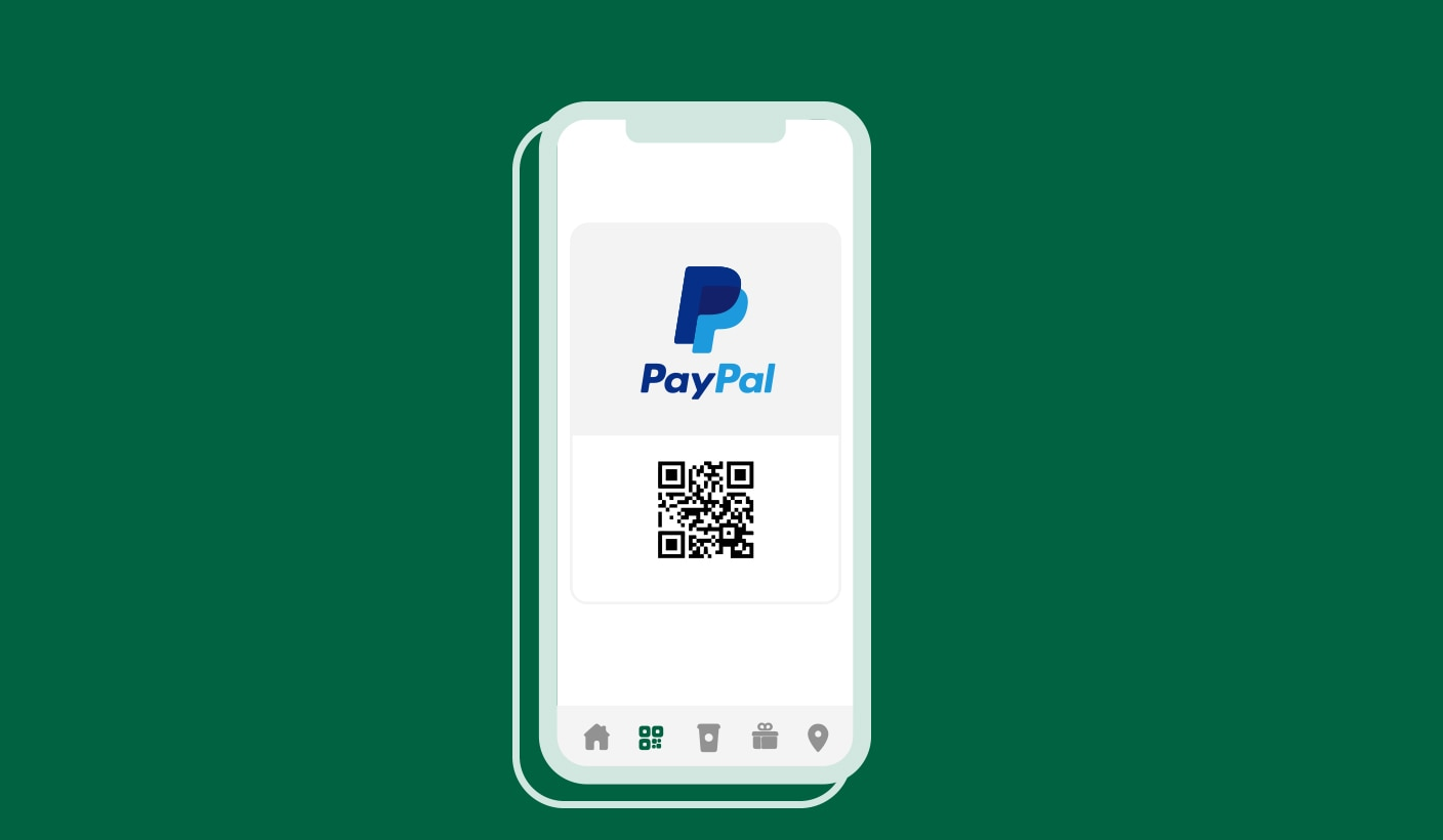 Outlined image of phone with PayPal logo and QR code