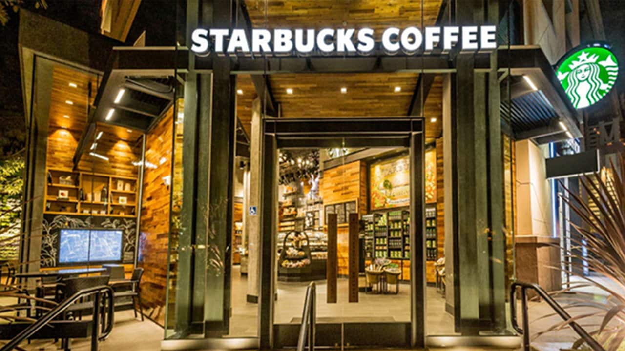 The interior of a Starbucks Coffee store