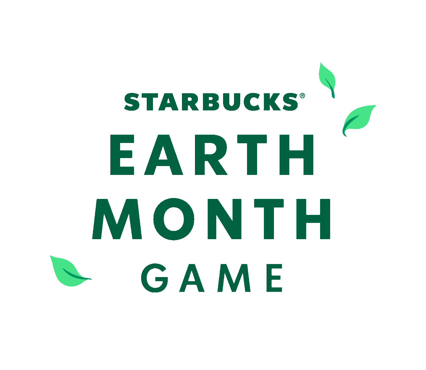 Illustrative Starbucks Earth Month Game logo surrounded by illustrated leaves.