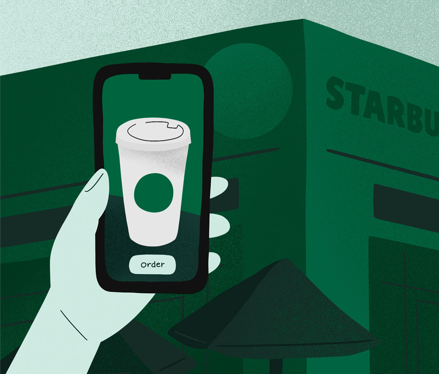 Illustrated hand holding a phone with the app open in front of a Starbucks store.
