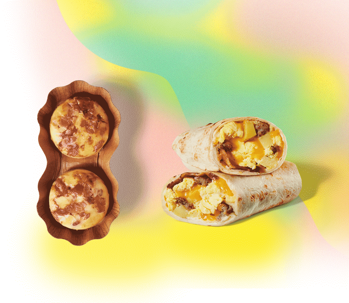 Two round egg bites next to a stacked wrap