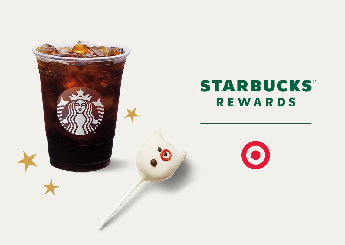 An iced drink and cake pop next to the Starbucks Rewards and Target logo.