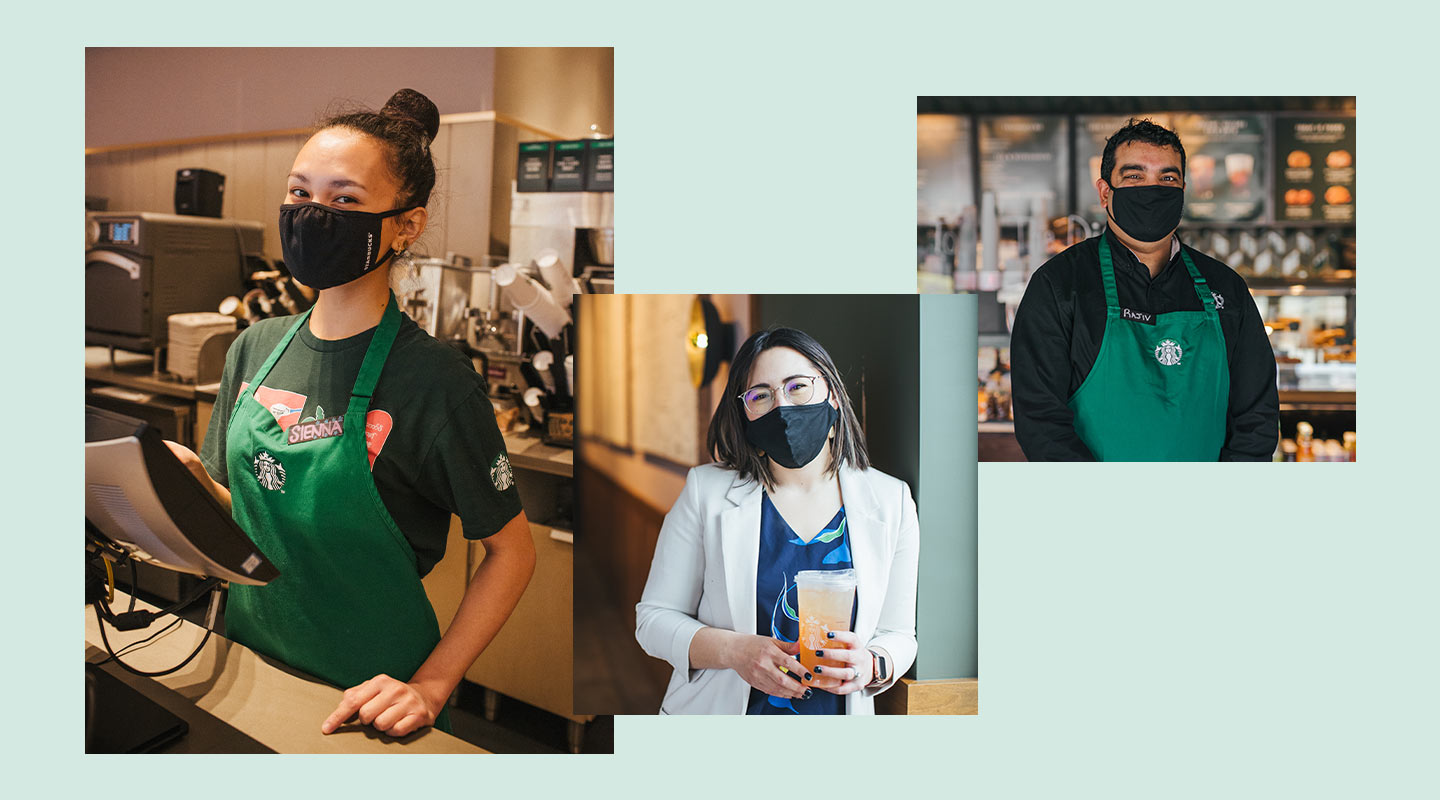 Collage of the three featured Starbucks partners (employees) wearing masks.