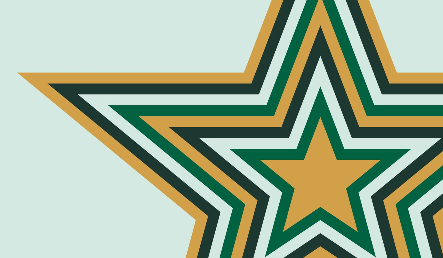 Illustrative radiating Starbucks Rewards star.