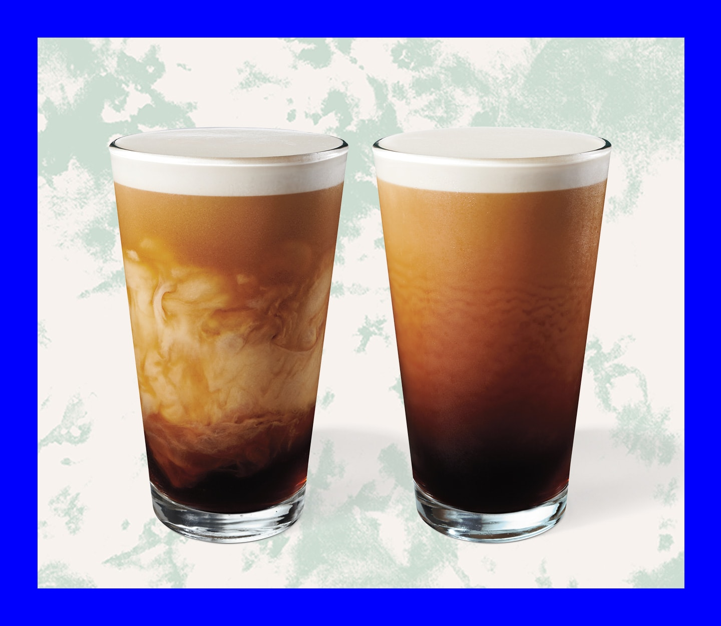 Two cold coffee beverages with crema in glasses.