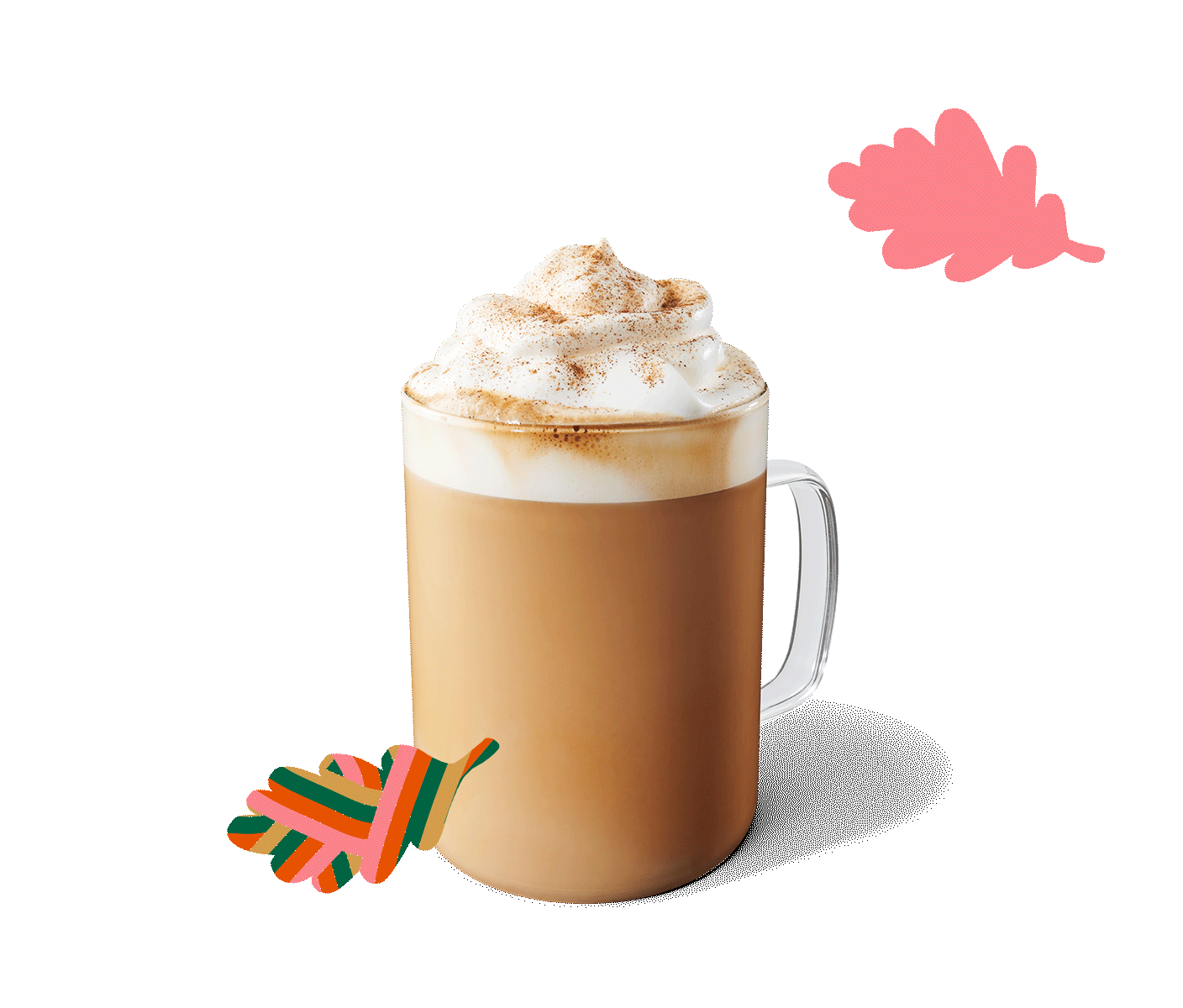 A Pumpkin Spice Latte sits in a layout with graphic, fall leaves.